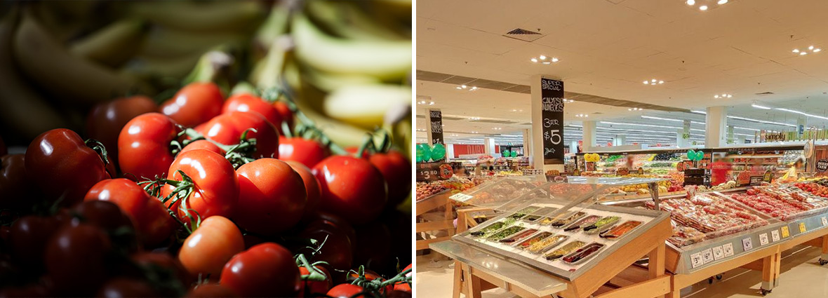 Fresh produce inside Coles supermarket